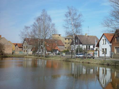 Rok 2000-pohled nališanský rybník vcentru obce, vsoučasnosti pronajímaný Svazu rybářů